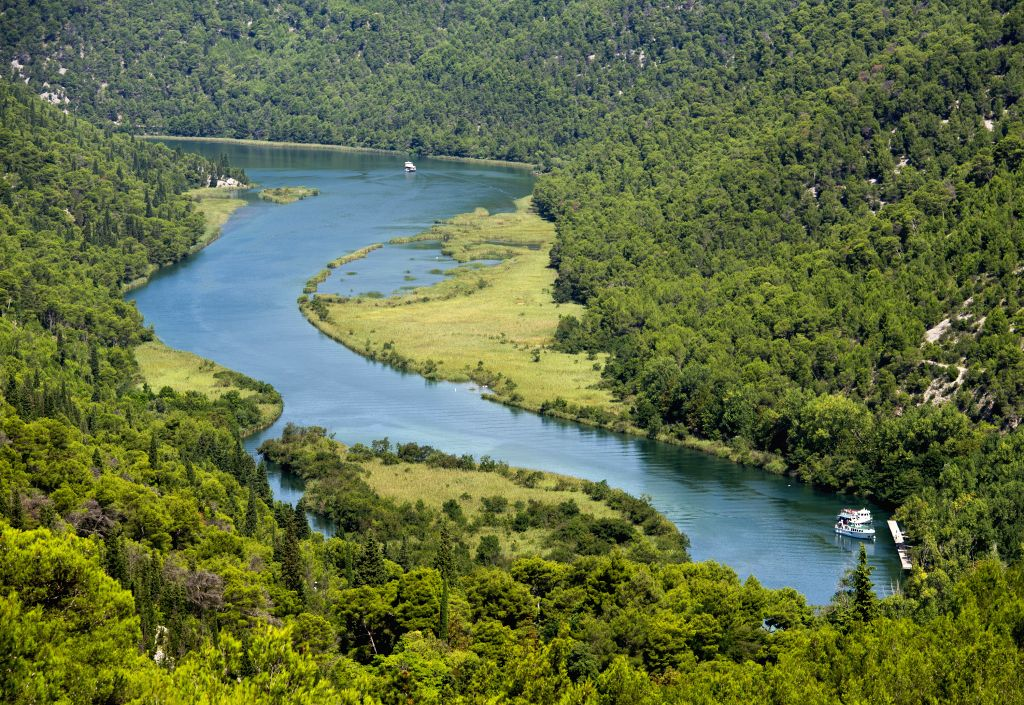 A general view of the Skradinski Buk waterfall is seen at the Krka National Park, one of Croatia's best-known nature sites and tourist destinations, in Skradin near .