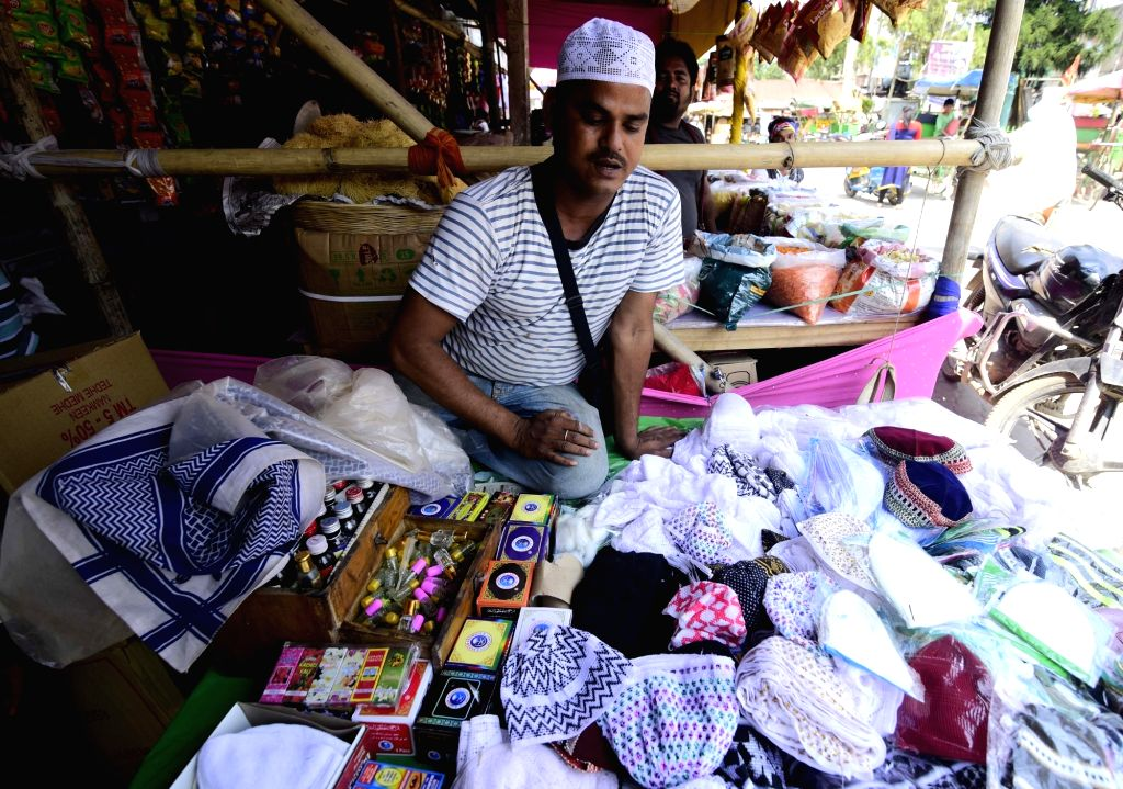 Skullcaps on sale at a market ahead of Eid in Assam's Nagaon, on June 1, 2019.