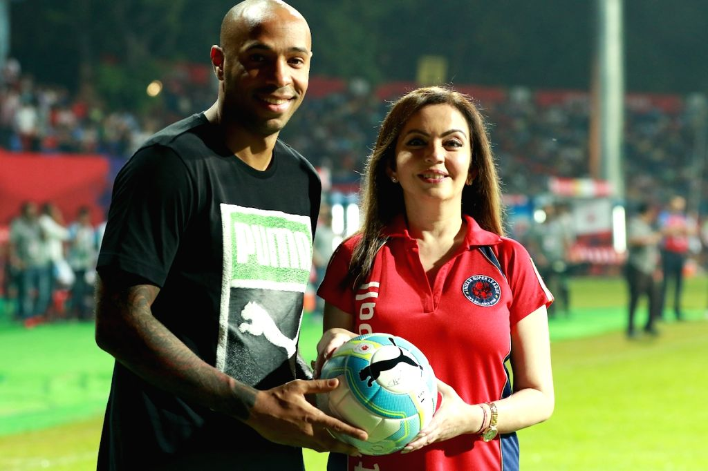 SL chairman Nita Ambani with former French footballer Thierry Henry during an Indian Super League (ISL) football match between Atletico de Kolkata and Mumbai City FC in Kolkata on Oct  25, ... - Nita Ambani