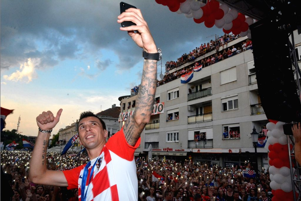 SLAVONSKI BROD, July 19, 2018 - Mario Mandzukic of Croatian national football team takes a selfie during welcome celebration in Slavonski Brod, Croatia, July 18, 2018. Croatia won the second place at ...
