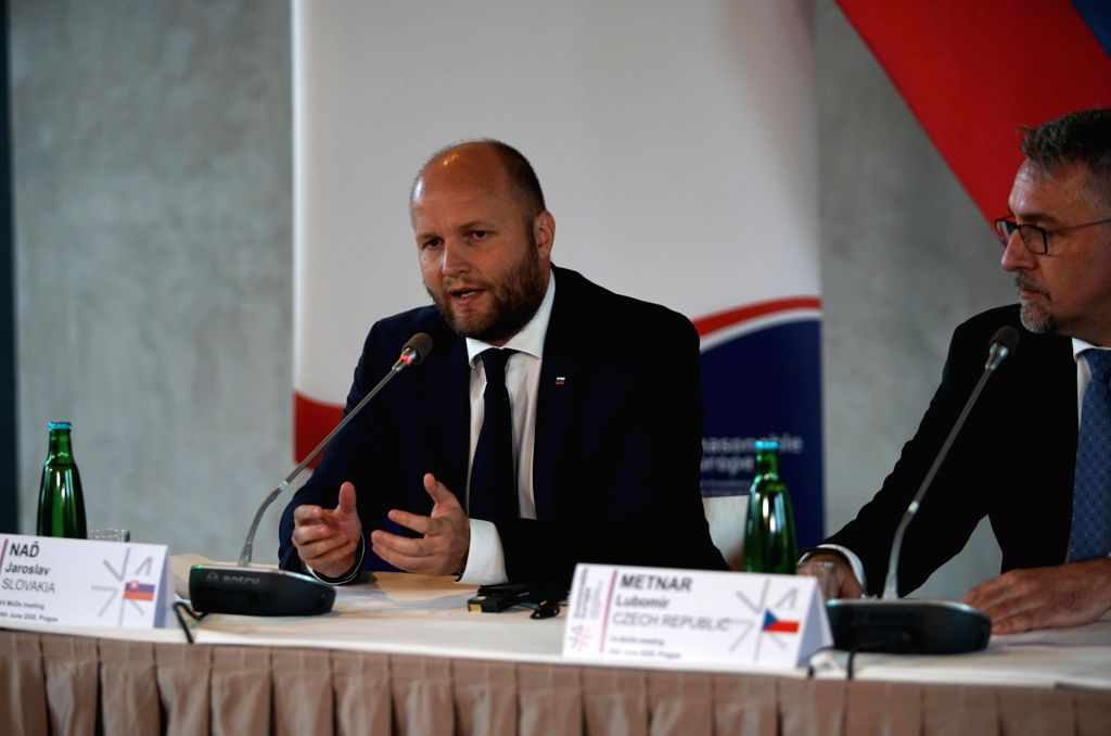 Slovak Defense Minister Jaroslav Nad (L) speaks during a press conference in Prague, the Czech Republic, on June 24, 2020. Defense ministers of Hungary, the Czech ... - Jaroslav Nad