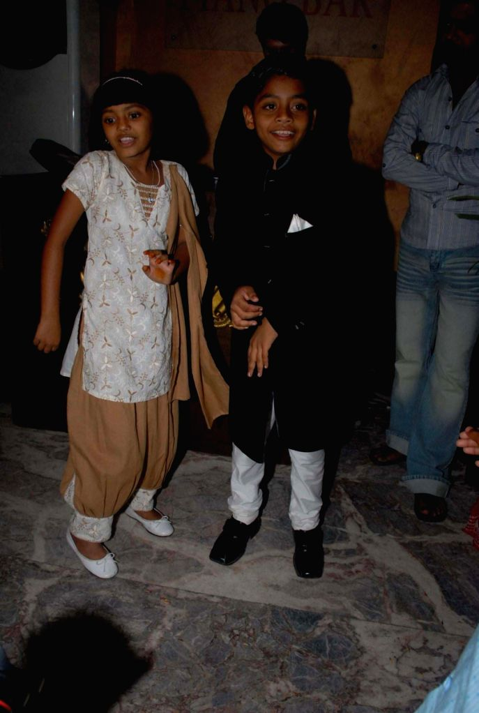 "Slumdog Millionaire"" child stars Azharuddin Ismail Shaikh and Rubina Ali at an event hosted by politician Asif Bhamla's organisation Love India. The team members of the Oscar award-win"