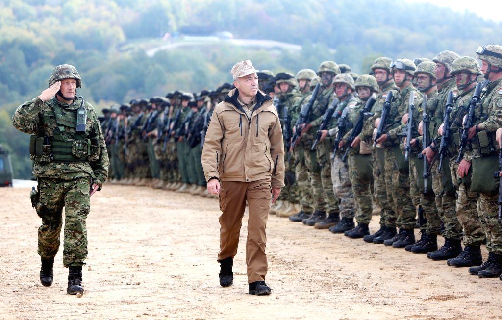"SLUNJ, Oct. 3, 2017 - Croatian Defense Minister Damir Krsticevic (2nd L) observes the military exercise ""Udar 17"" in the Eugen Kvaternik military training area near Slunj, Croatia, on Oct. ... - Damir Krsticevic"