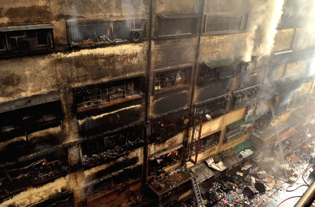 Smoke billows out of Kolkata's Bagree market where a fire broke out yesterday; on Sept 17, 2018.