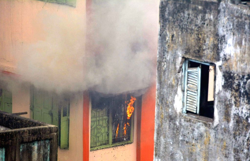 Smoke comes out of the godown that caught fire, in Kolkata on May 23, 2018.