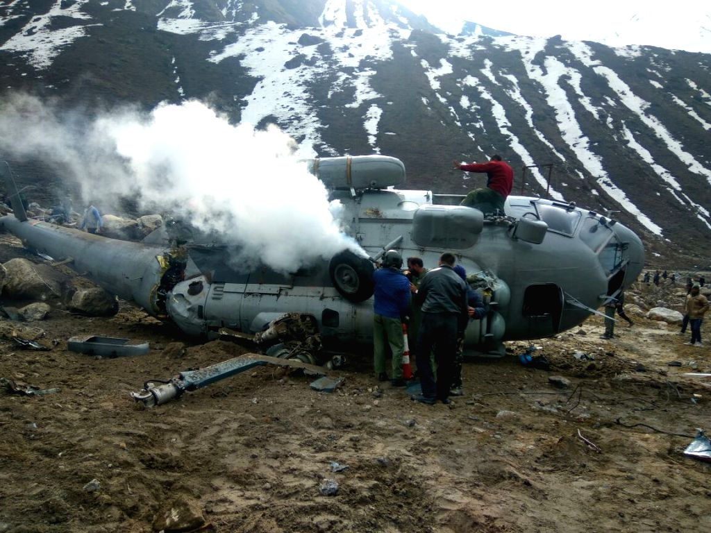 Smoke comes out of the Indian Air Force (IAF) helicopter that crash-landed in Kedarnath on April 3, 2018. The accident took place when the MI-17 chopper was trying to land far from the ...