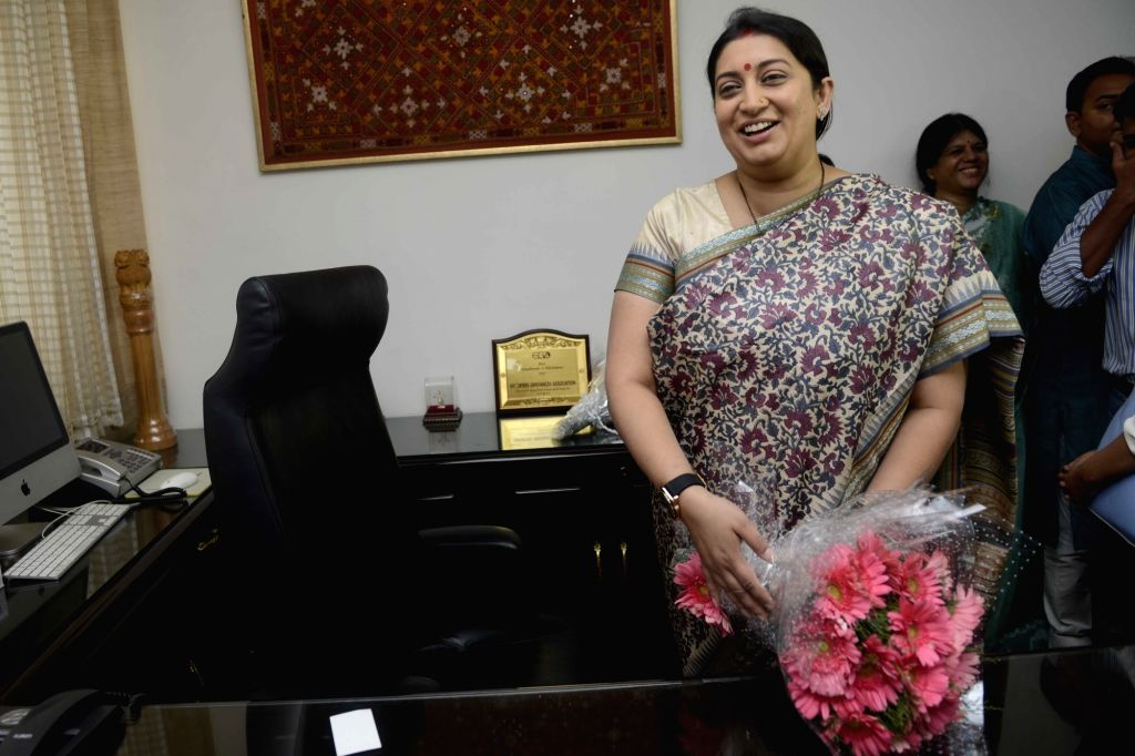 Smriti Irani assumes charge as as Union Textile Minister in New Delhi, on July 6, 2016. - Smriti Irani