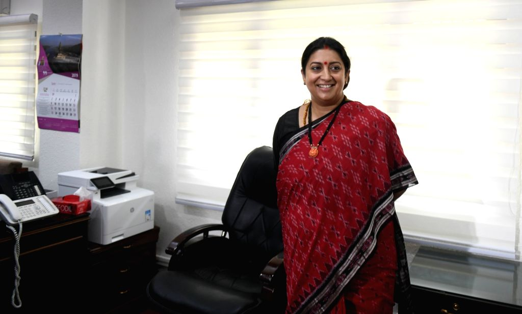 Smriti Irani takes charge as the Union Minister for Women and Child Development, in New Delhi on June 3, 2019. (Photo: IANS - Smriti Irani