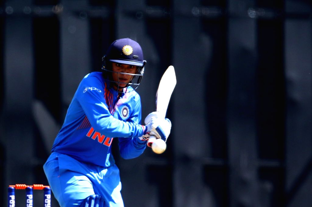 Smriti Mandhana of India in action during the women's tri-series T20I match between India and Australia at the Brabourne Stadium in Mumbai on March 22, 2018.