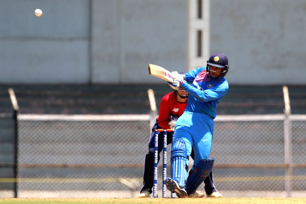 Smriti Mandhana of India in action during the women's tri-series T20I match between India and England at the Brabourne Stadium in Mumbai on March 29, 2018.