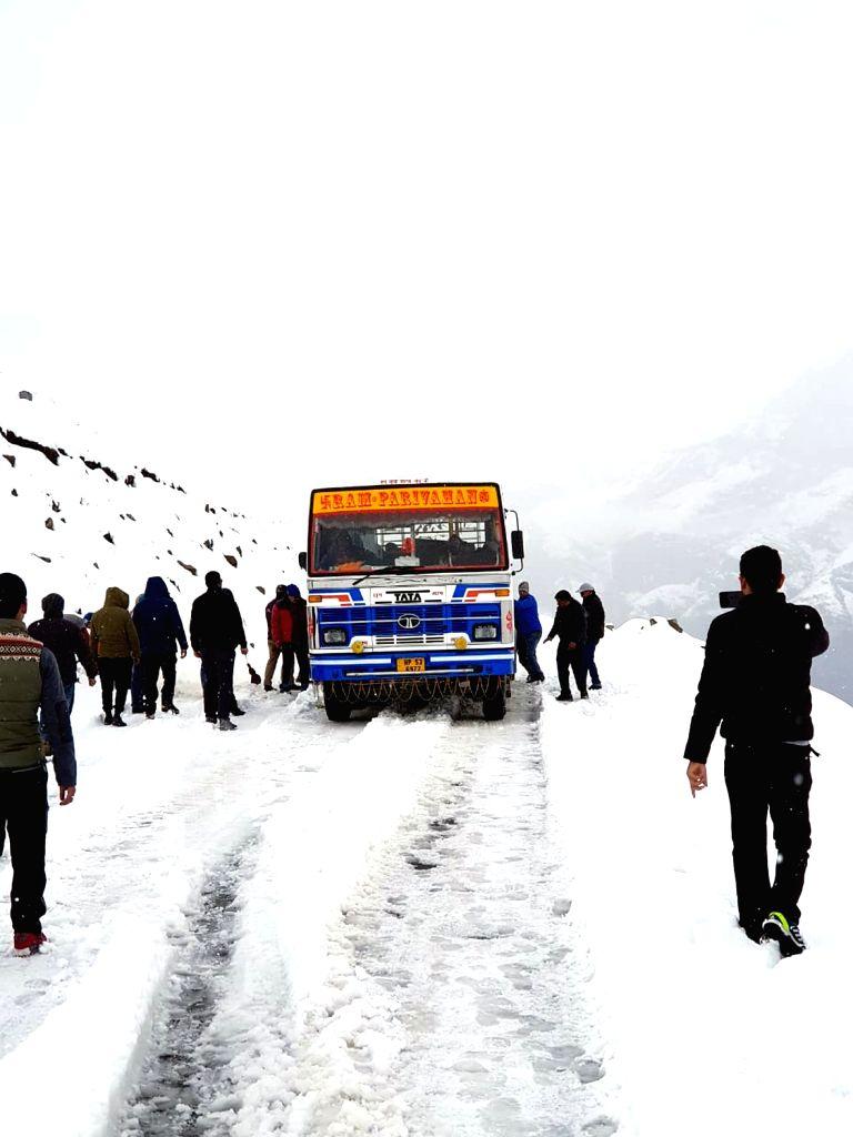 Snowfall in Rohtang Pass, Himachal Pradesh on Oct 7, 2019.