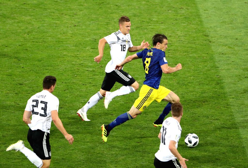 SOCHI, June 23, 2018 - Albin Ekdal (R top) of Sweden competes during the 2018 FIFA World Cup Group F match between Germany and Sweden in Sochi, Russia, June 23, 2018.