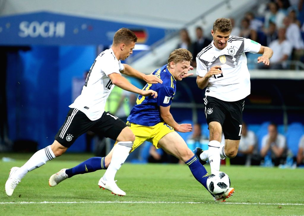 SOCHI, June 23, 2018 - Emil Forsberg (C) of Sweden breaks through with the ball during the 2018 FIFA World Cup Group F match between Germany and Sweden in Sochi, Russia, June 23, 2018.