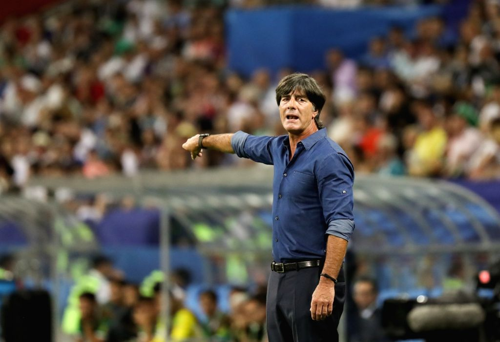 SOCHI, June 30, 2017 - Joachim Loew, head coach of Germany, gestures during the semifinal match of the 2017 FIFA Confederations Cup against Mexico in Sochi, Russia, June 29, 2017. Germany won 4-1.