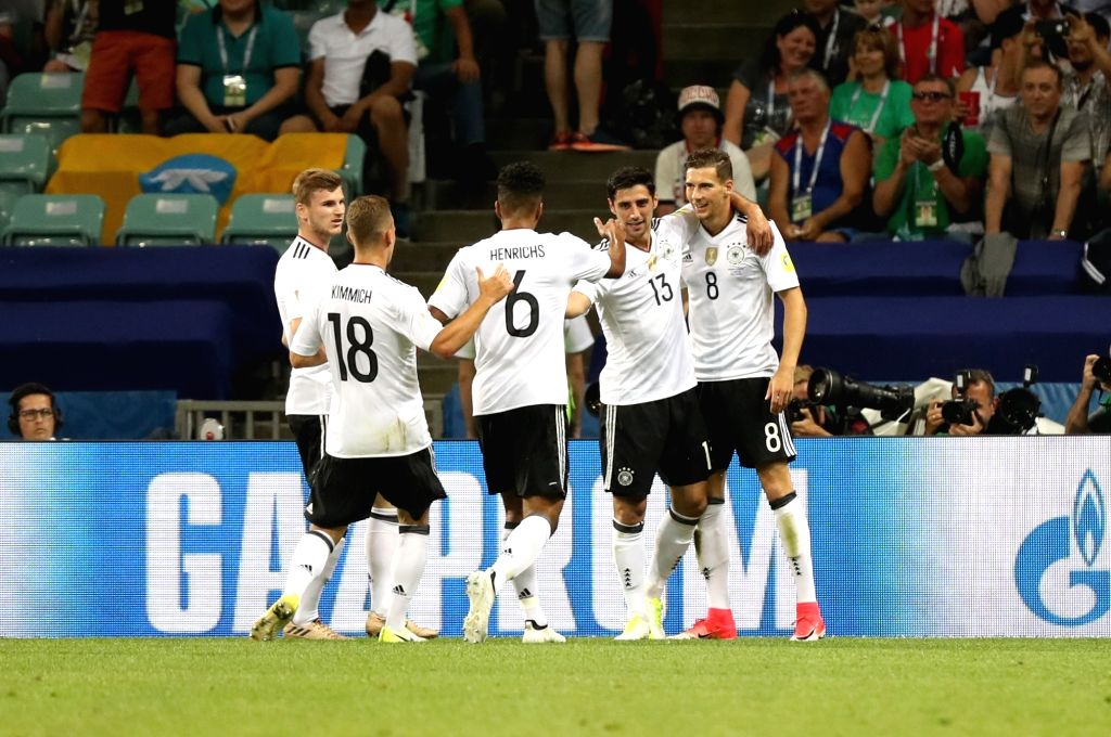 SOCHI, June 30, 2017 - Leon Goretzka (R1) celebrates with teammates after scoring their first goal during the semifinal match of the 2017 FIFA Confederations Cup against Mexico in Sochi, Russia, June ...