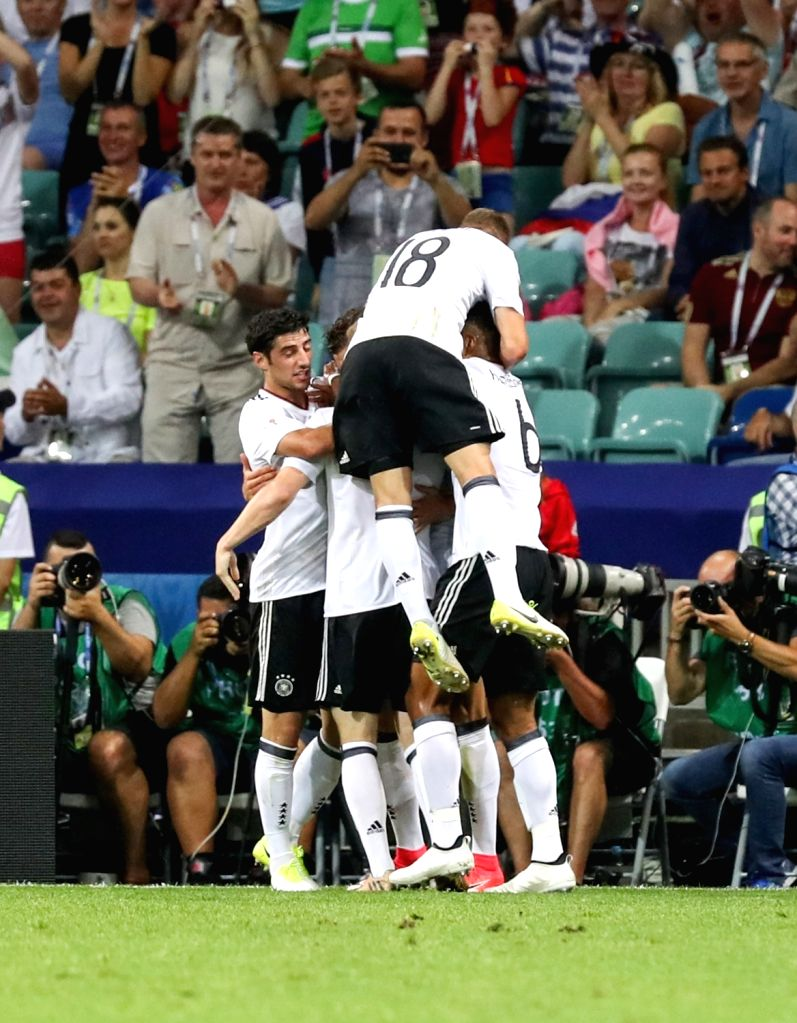 SOCHI, June 30, 2017 - Players of Germany celebrate after Leon Goretzka scores their first goal during the semifinal match of the 2017 FIFA Confederations Cup against Mexico in Sochi, Russia, June ...