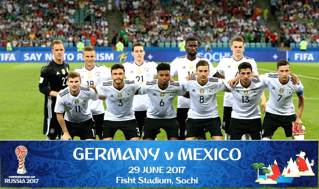 SOCHI, June 30, 2017 - Team Germany pose for a group photo prior to the semifinal match of the 2017 FIFA Confederations Cup against Mexico in Sochi, Russia, June 29, 2017. Germany won 4-1.