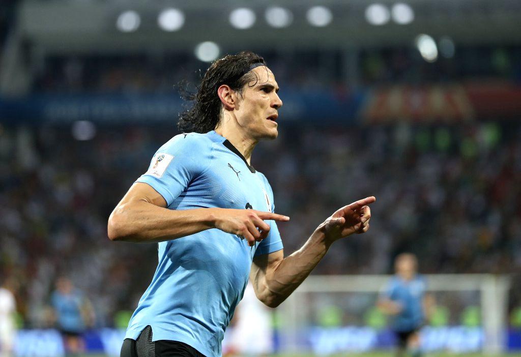 SOCHI, June 30, 2018 (Xinhua) -- Edinson Cavani of Uruguay celebrates scoring during the 2018 FIFA World Cup round of 16 match between Uruguay and Portugal in Sochi, Russia, June 30, 2018. (Xinhua/Fei Maohua/IANS)