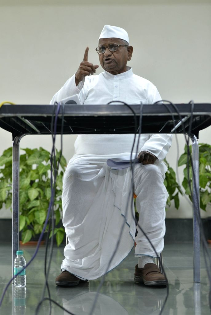 Social activist Anna Hazare addresses a press conference in New Delhi on Dec 5, 2017.