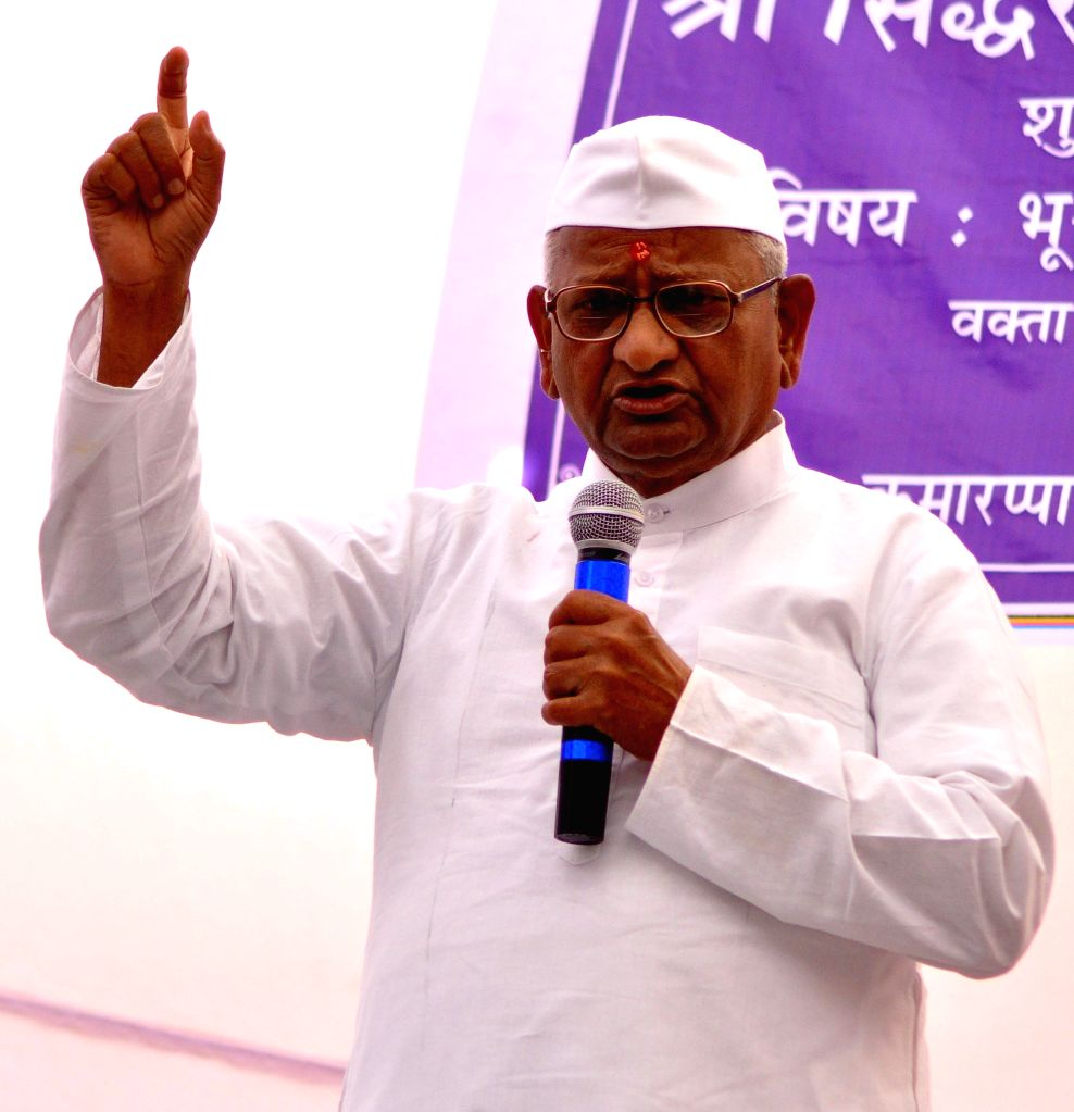 Social activist Anna Hazare addresses during a programme at Vinoba Gyan Mandir in Jaipur on April 18, 2014.