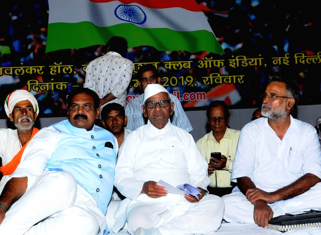 Social activist Anna Hazare during a press conference on Party-Less Democracy at Constitution Club in New Delhi on Sep 15, 2019.