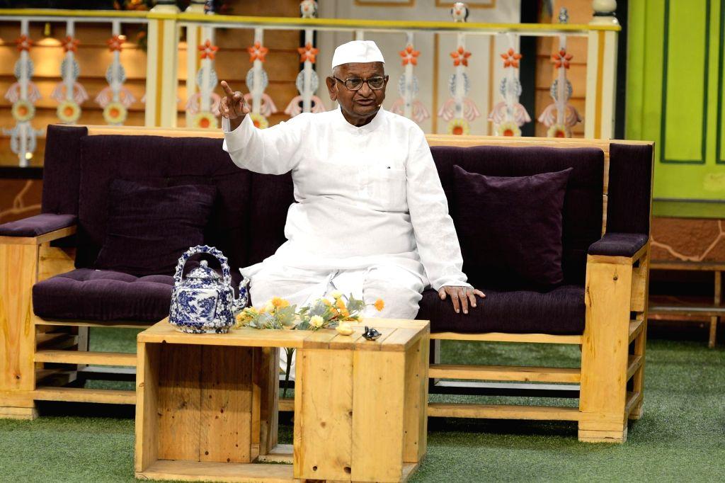 Social activist Anna Hazare during the promotion of film Anna: Kisan Baburao Hazare on the sets of The Kapil Sharma Show in Mumbai on Sept. 23, 2016.