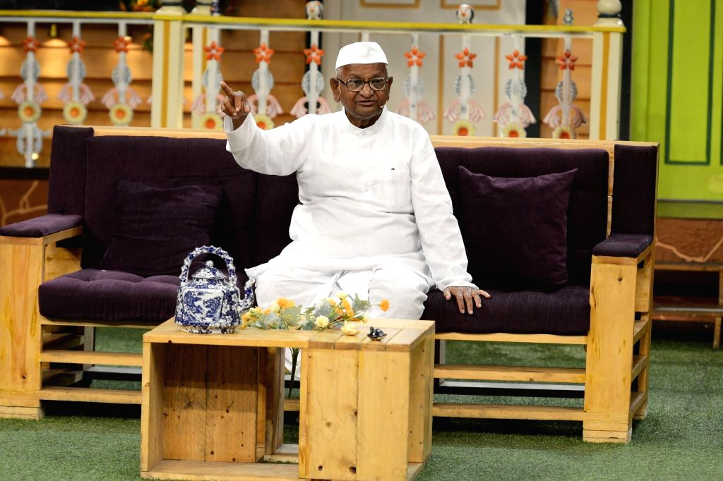 Social activist Anna Hazare during the promotion of film Anna: Kisan Baburao Hazare on the sets of The Kapil Sharma Show in Mumbai on Sept. 23, 2016.