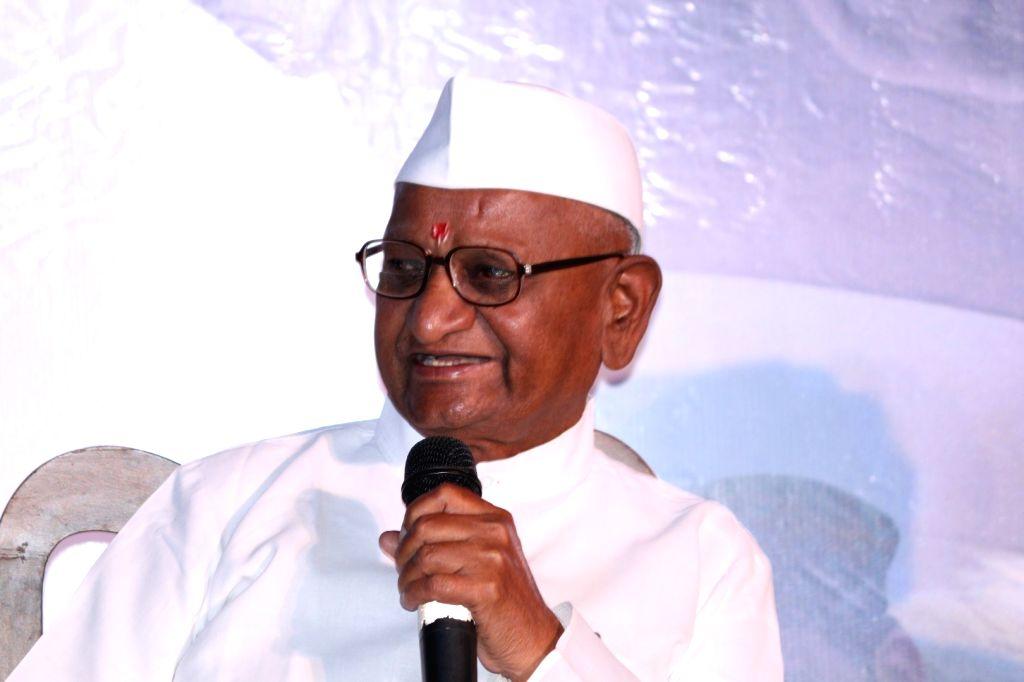 Social activist Anna Hazare during the trailer launch of film Anna: Kisan Baburao Hazare in Mumbai on Sept. 24, 2016.