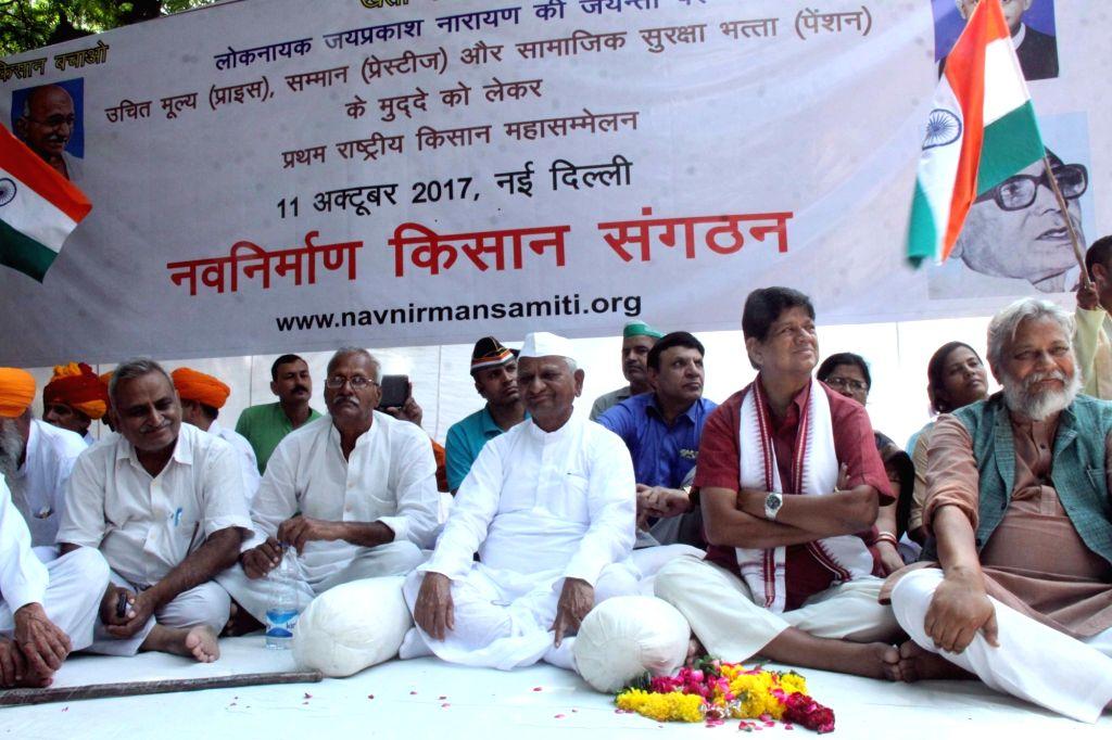 Social activist Anna Hazare stages a demonstration at Janter Mantar in New Delhi, on Oct 11, 2017.