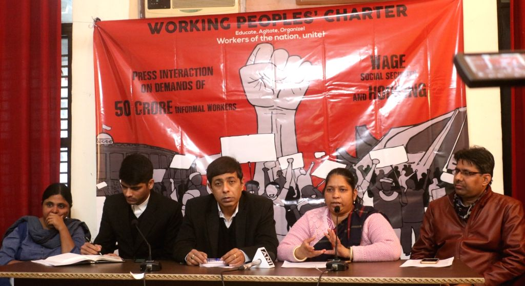 Social activist Deepa Sinha and ActionAid Executive Director Sandeep Chachra during a press conference regarding a march of unorganised workers to Parliament in New Delhi on Jan 31, 2019. - Deepa Sinha
