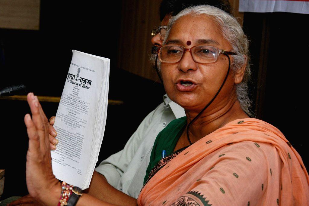 Social activist Medha Patkar during a press conference in Kolkata on Aug 29, 2014.