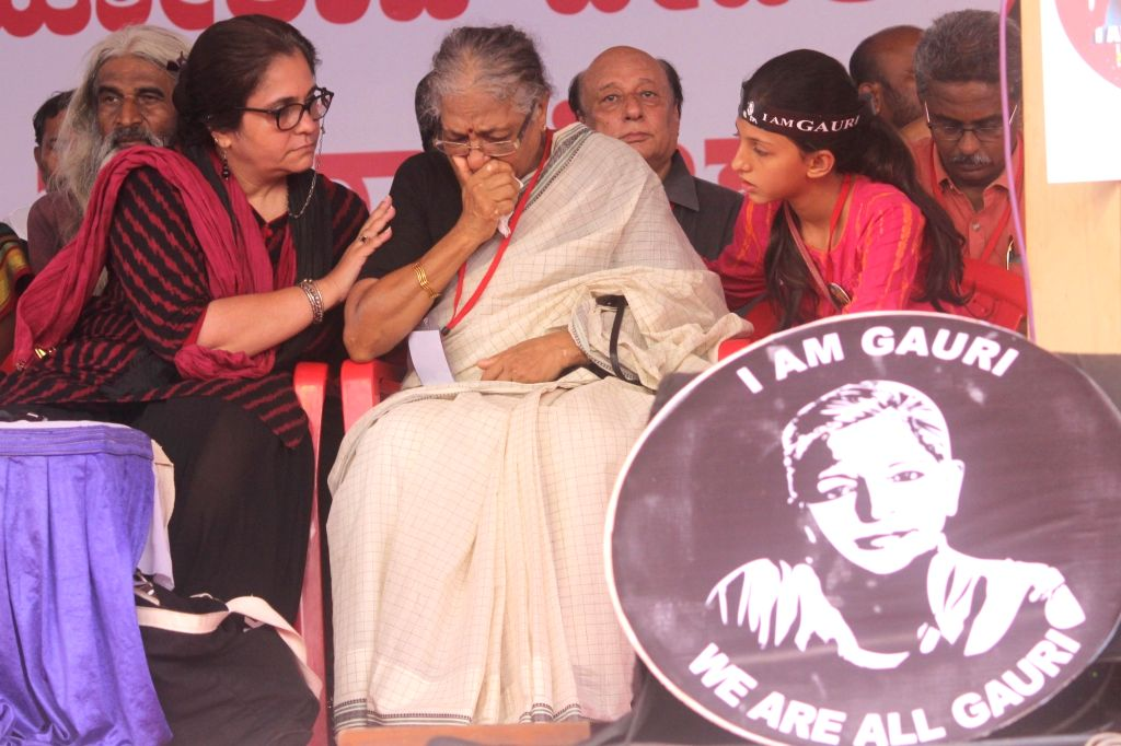 Social activist Medha Patkar during a protest rally against the killing of journalist turned activist Gauri Lankesh at Central College Ground in Bengaluru on Sept 12, 2017.