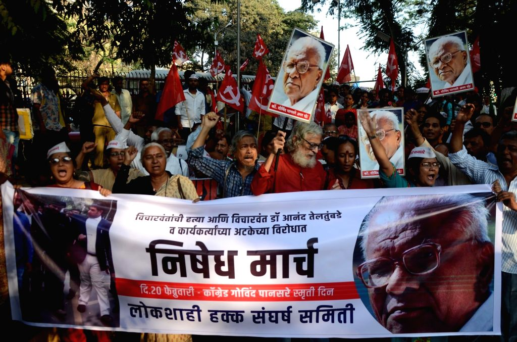 Social activist Medha Patkar participates in a march on the death anniversary of late Communist Party of India (CPI) leader Govind Pansare in Mumbai on Feb 20, 2019.