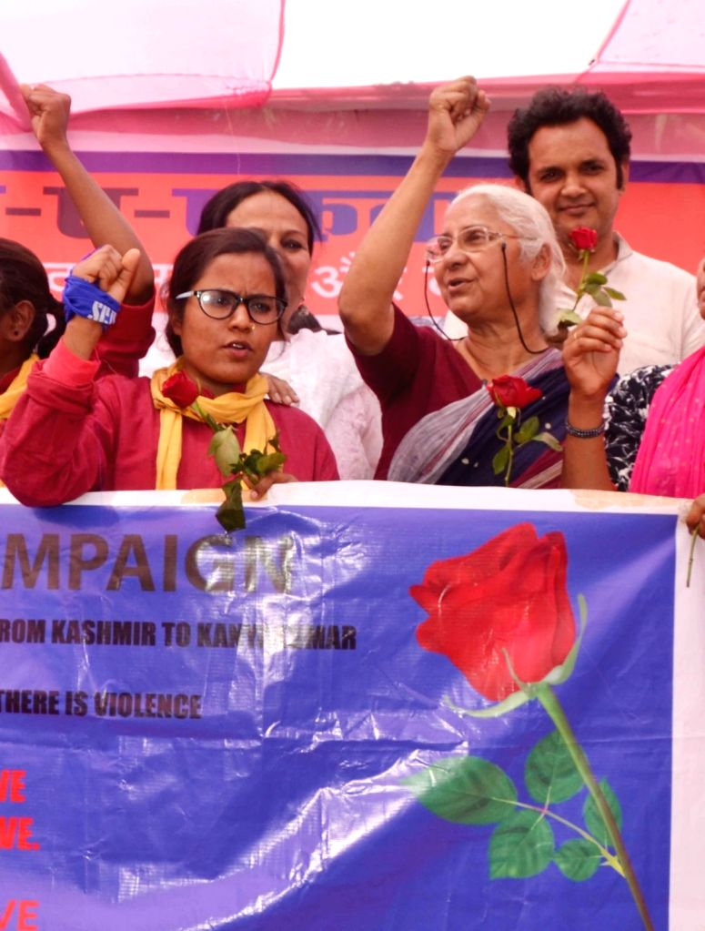 Social activist Medha Patkar participates in the 'Red Rose' campaign in Patna, on March 10, 2019.