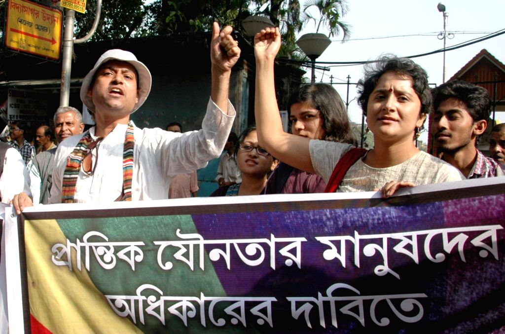 Social activist take part in a protest rally against the Supreme Court`s decisionon Section 377 of IPC in Kolkata on Dec. 14, 2013.