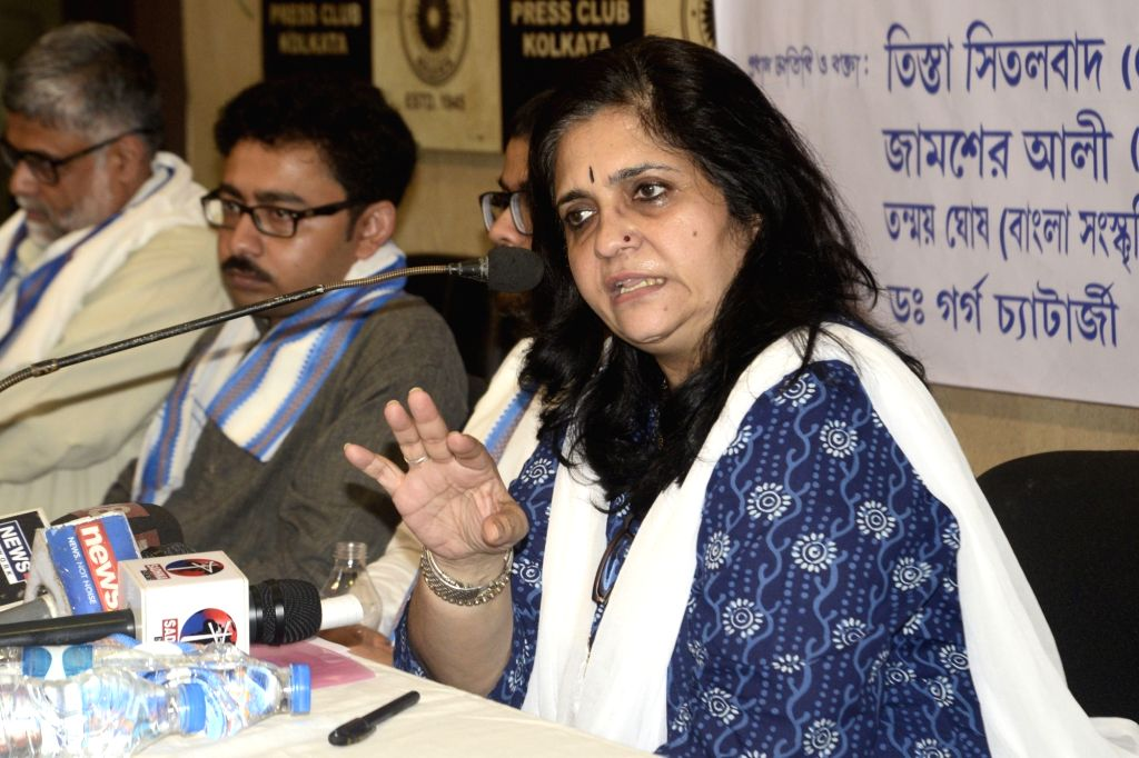 Social activist Teesta Setalvad addresses during a press conference organised by HPAO (Human Protection And Awareness Organisation) regarding the final draft of Assam's National Register of ...