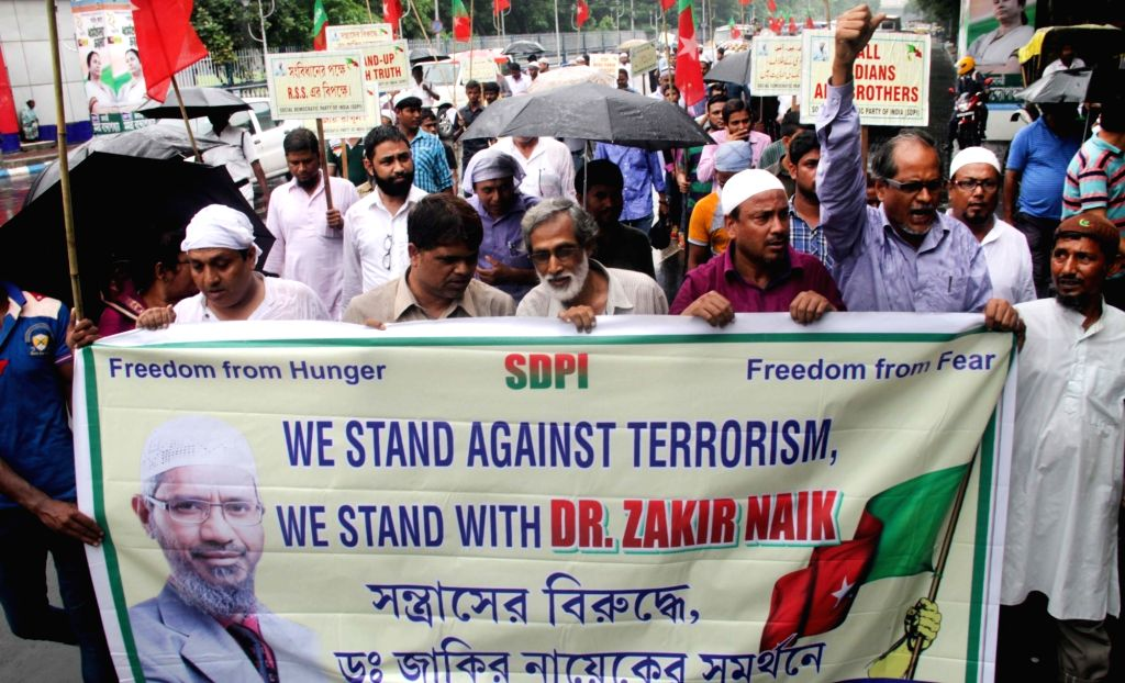 Social Democratic Party of India participate in a rally in support of Dr. Zakir Naik in Kolkata on July 15, 2016.