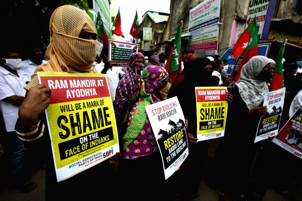 Social Democratic Party of India (SDPI) activists stage a demonstration against the construction of Ram Temple in Ayodhya; in Chennai on Aug 5, 2020.