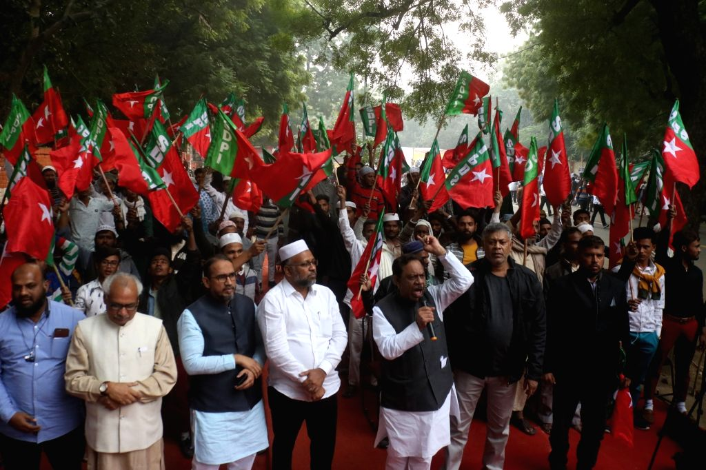 Social Democratic Party of India (SDPI) activists stage a demonstration agianst Citizenship (Amendment) Bill, or CAB, in New Delhi on Dec 5, 2019.