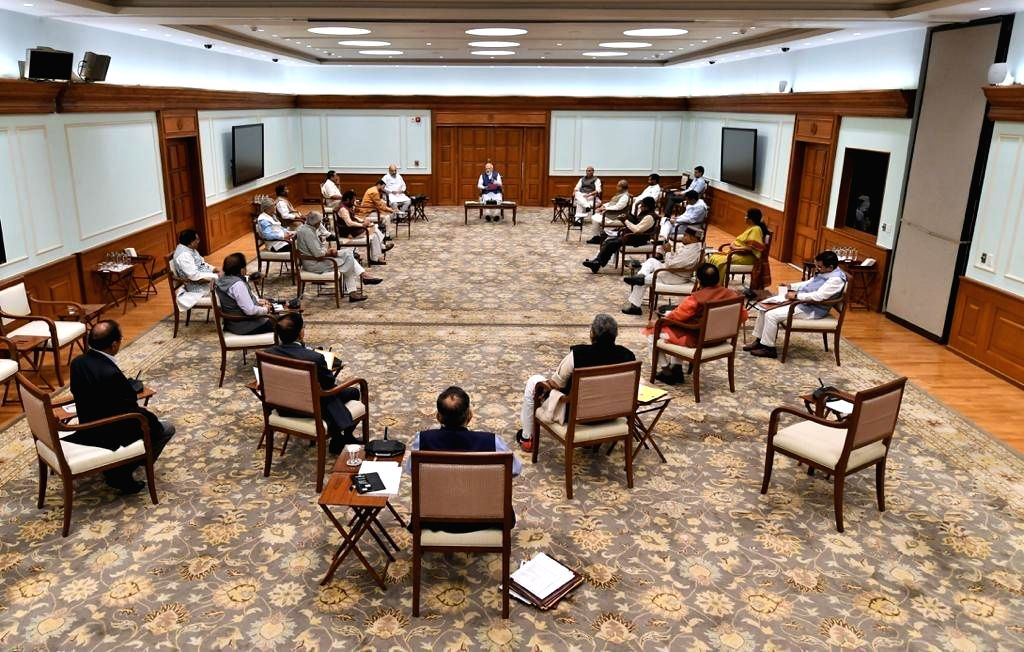 Social distancing followed strictly at the Union Cabinet meeting chaired by Prime Minister Narendra Modi, in New Delhi on March 25, 2020. - Narendra Modi