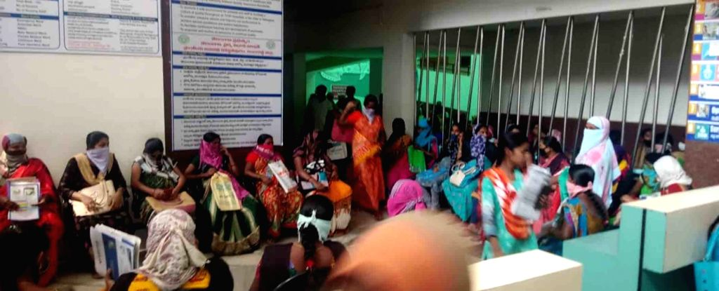 Social distancing orders being violated at a Government hospital in Hyderabad's Vanasthalipuram during the extended nationwide lockdown imposed to mitigate the spread of coronavirus; on ...
