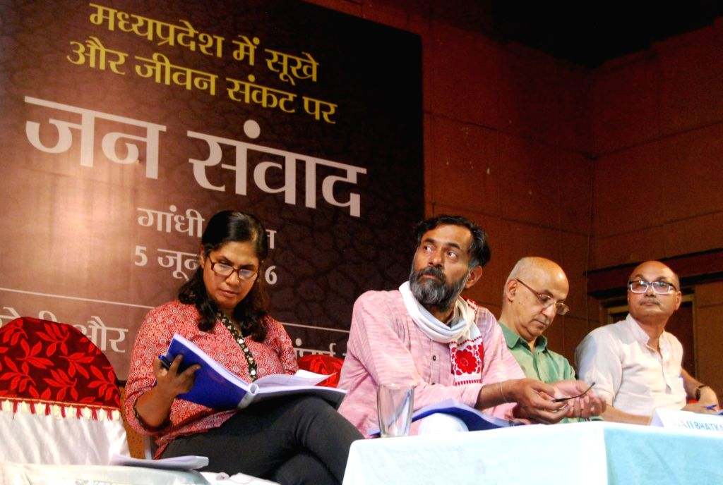 Social Scientist and Swaraj Abhiyan leader Yogendra Yadav during a programme organised to discuss drought situation in Madhya Pradesh; in Bhopal on June 5, 2016. - Yogendra Yadav