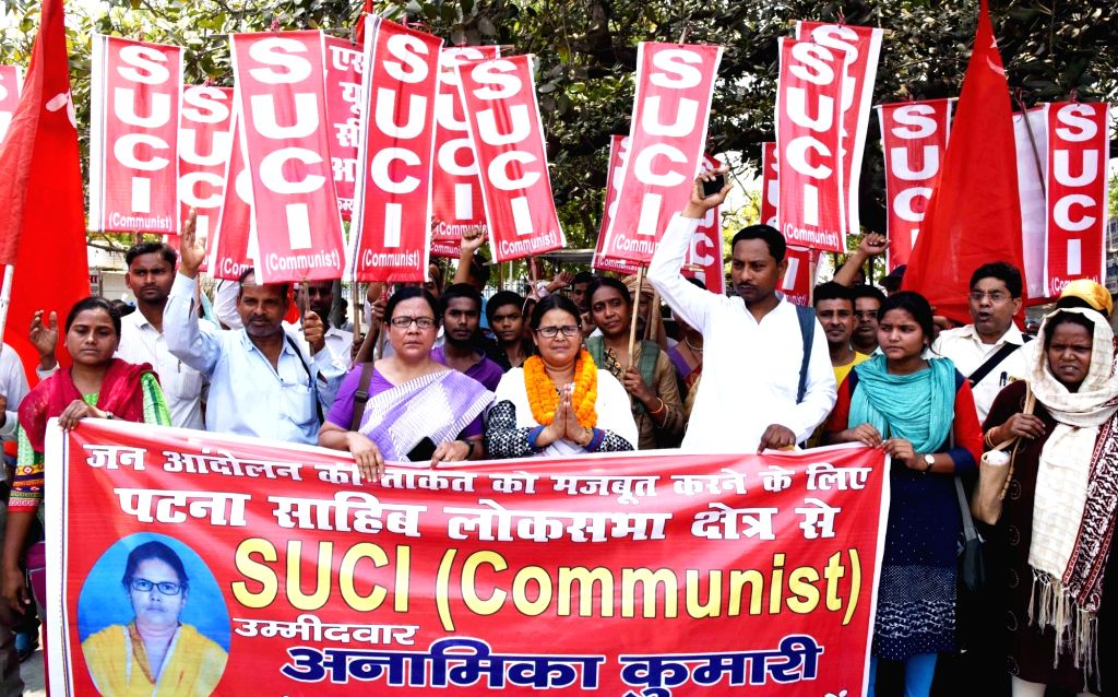 Socialist Unity Centre of India (Communist) Lok Sabha candidate from Patna Sahib, Anamika Kumari arrives to file her nomination for the forthcoming Lok Sabha elections, in Patna on April 25, ...