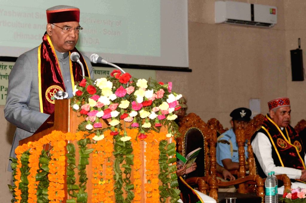 :Solan: President Ram Nath Kovind addresses during the 9th convocation of Dr YS Parmar University of Horticulture and Forestry in Solan, Himachal Pradesh on May 21, 2018. (Photo: IANS/RB).