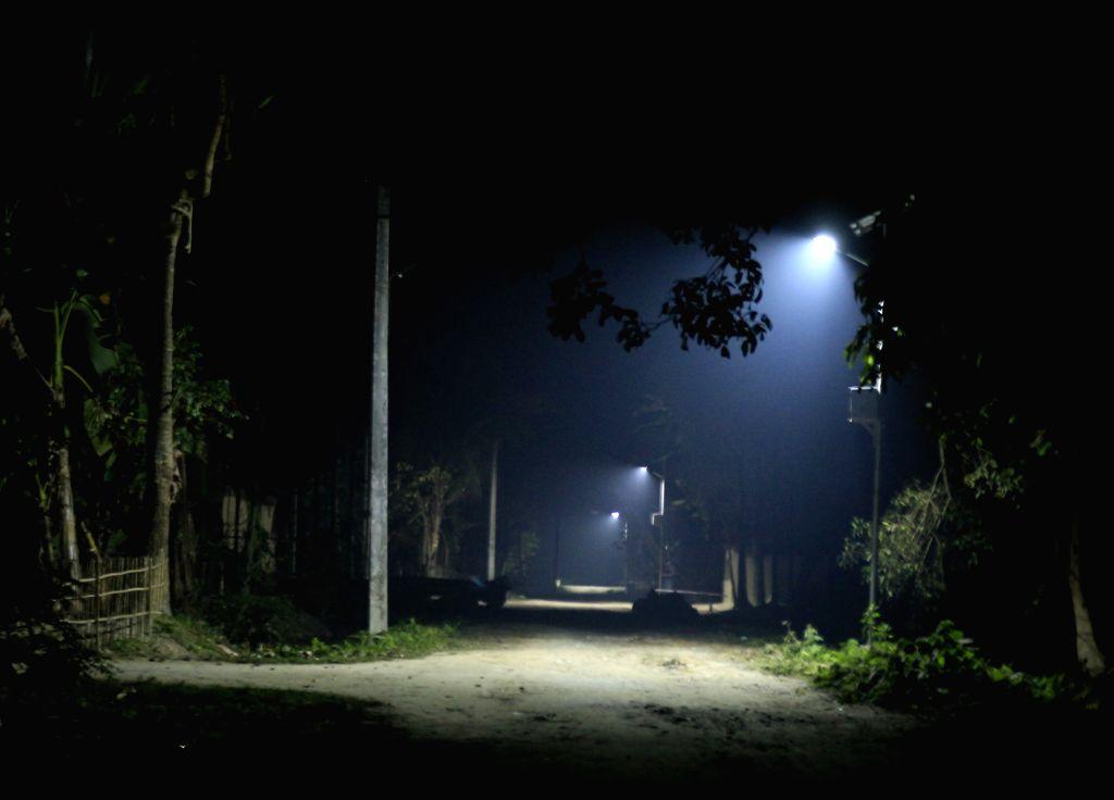 Solar-powered streets lights in Barsimaluguri village.