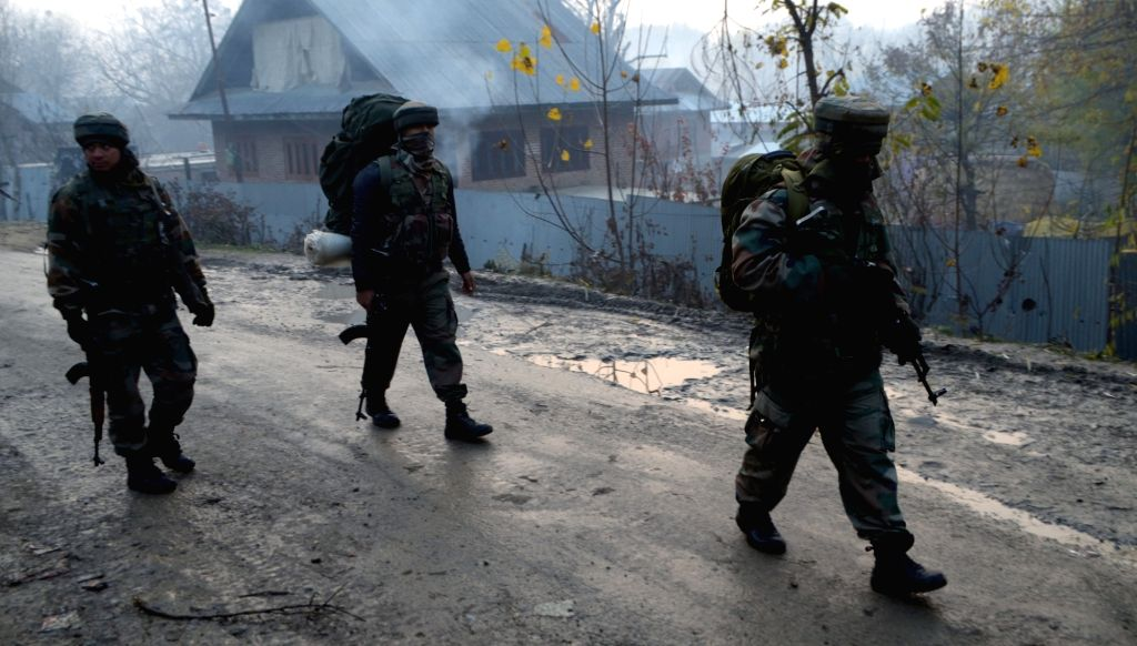 Soldier during an encounter between security forces and separatist guerrillas in Jammu and Kashmir's Bandipora district  on Nov 1, 2016.