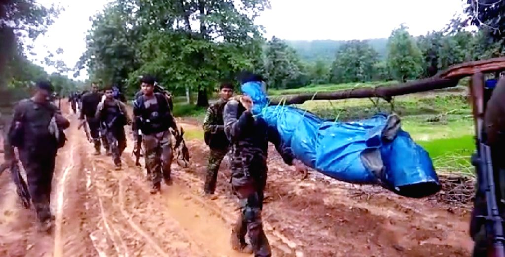 Soldiers after an encounter where seven Maoists were killed in Rajnandgaon district of Chhattisgarh on Aug 3, 2019. Security personnel have also recovered an AK-47 and other arms and ...
