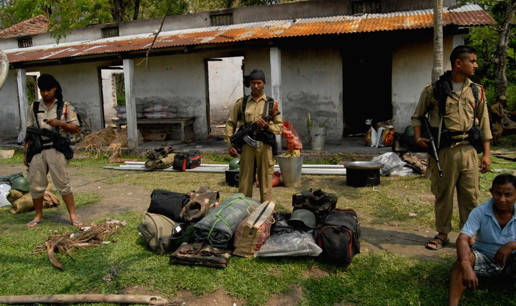 Soldiers at Narayanguri Relief Camp setup to provide shelter to those who fled their villages after recent violence in Bodoland Territorial Area Districts (BTAD), in Baksa district of Assam on May 6,