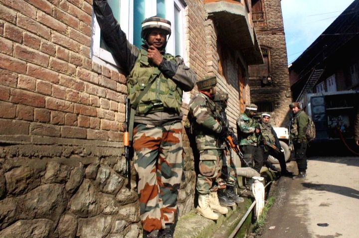 Soldiers at the site where a gunfight erupted between security personnel and security forces in which two militants were killed,  in Tral region of Jammu and Kashmir's Pulwama district on ...