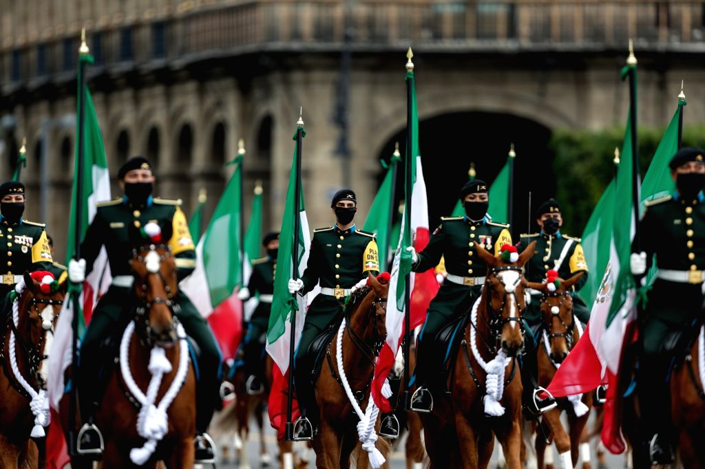 Soldiers attend Mexico's Independence Day military parade in Mexico City, capital of Mexico, Sept. 16, 2020.